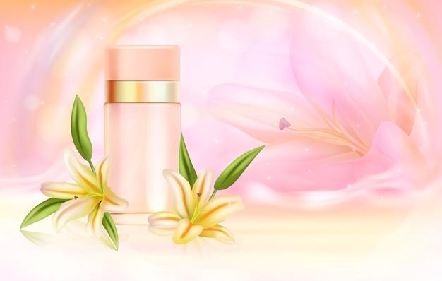 Ilustración de cosméticos de perfume de lirio.