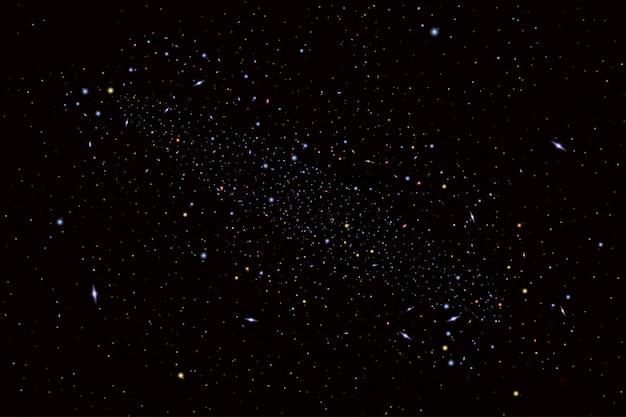 Ilustración de cosmología con universo, galaxia, sol, planetas y estrellas. se puede utilizar para invitación o folleto. vista futurista con fondo de profundidad y espacio