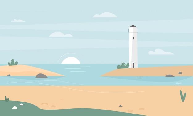 Ilustración de la costa del mar con faro