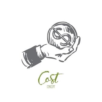 Ilustración de costo en dibujado a mano
