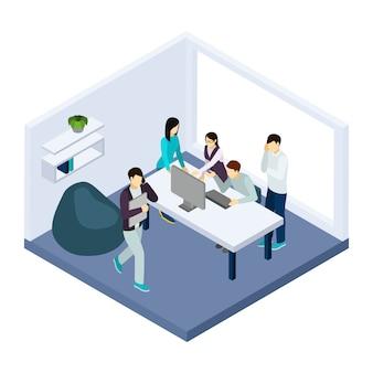 Ilustración de coworking y trabajo en equipo.