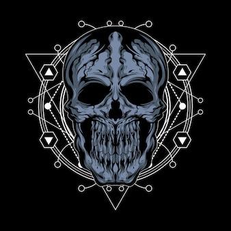 Ilustración del cráneo agrietado con geometría sagrada