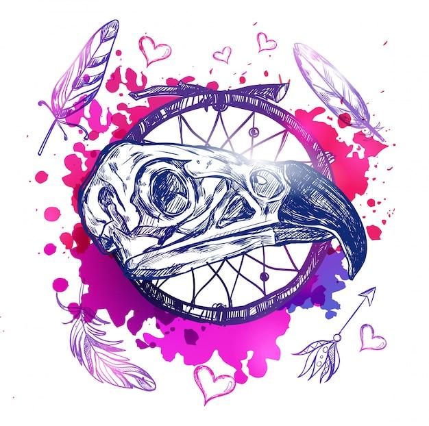 Ilustración de cráneo águila boho