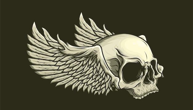Ilustración de cráneo y alas detalladas
