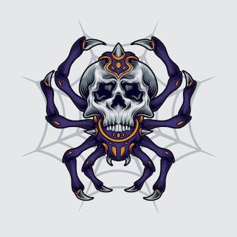 Ilustración del cráneo de araña