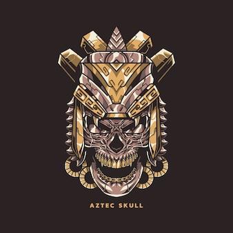 Ilustración del cráneo azteca