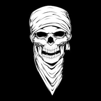 Ilustración de cráneo blanco y negro