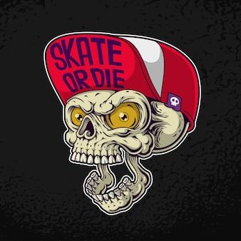 Ilustración de cráneo de cabeza de patinador