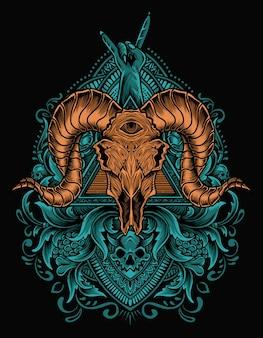 Ilustración de cráneo de cabra con adorno grabado