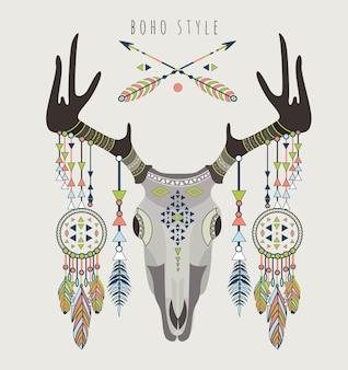 Ilustración de cráneo de ciervo de estilo boho