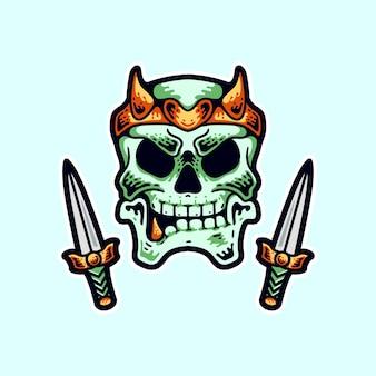 Ilustración de cráneo y cuchillo estilo moderno