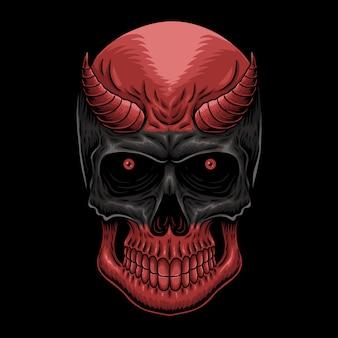 Ilustración de cráneo de demonio de cabeza
