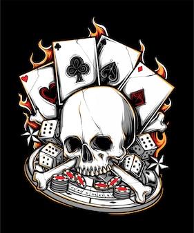 Ilustración de cráneo de hueso de jugador de póker