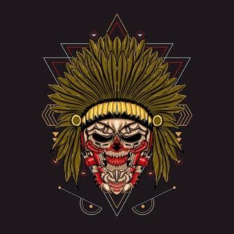 Ilustración cráneo indio robótico sagrado geométrico