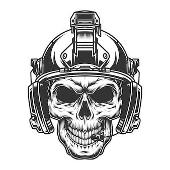 Ilustración de cráneo militar vintage