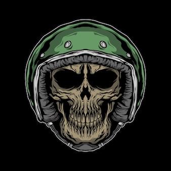 Ilustración del cráneo del motorista