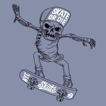 Ilustración del cráneo del patinador. dibujado a mano.