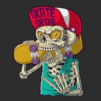 Ilustración de cráneo patinador