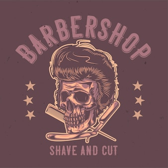 Ilustración de cráneo peludo, maquinilla de afeitar y peine