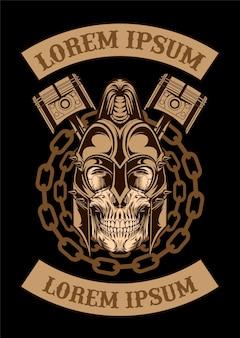 Ilustración de cráneo de pistón de arte vectorial arte de diseño de ropa de pistón de cráneo