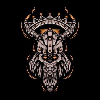 Ilustración de cráneo de realeza vikinga