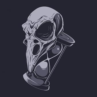 Ilustración de cráneo y reloj de arena de cuervo
