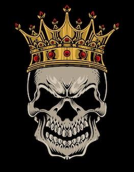 Ilustración cráneo rey cabeza