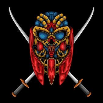 Ilustración de un cráneo de robot con dos espadas