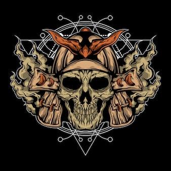 Ilustración de cráneo samurai con geometría sagrada