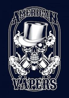 Ilustración de cráneo vape para camiseta