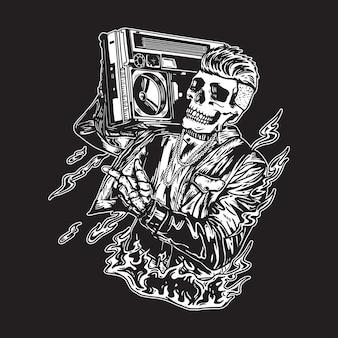 Ilustración de cráneo vintage hip hop