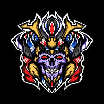 Ilustración de cráneos de príncipe de samurai