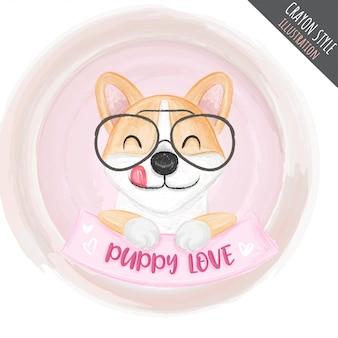 Ilustración de crayón de gafas lindo cachorro para niños