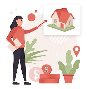 Ilustración creativa de asistencia inmobiliaria.