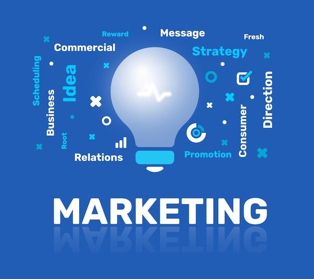 Ilustración creativa de bombilla, nube de palabras y marketing de títulos sobre fondo azul.