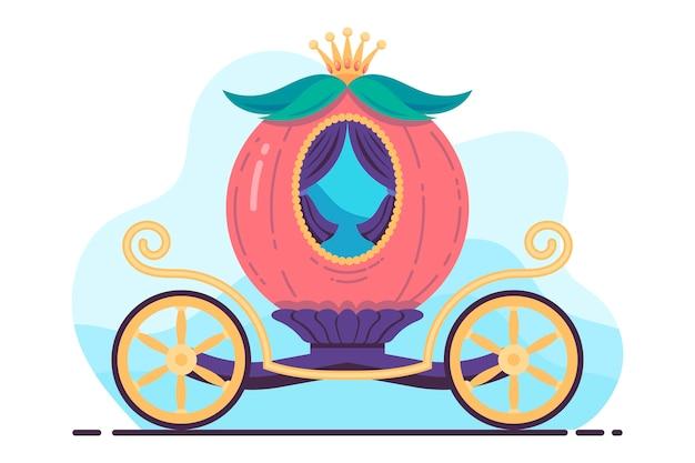 Ilustración creativa del carro de calabaza de cuento de hadas