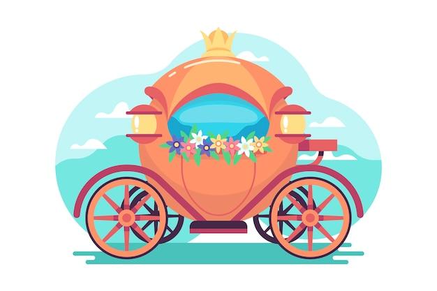 Ilustración creativa del carro de cuento de hadas