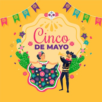 Ilustración creativa del cinco de mayo con gente bailando