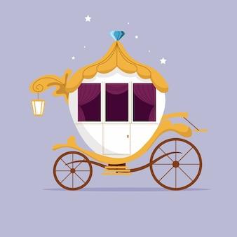 Ilustración creativa de cuento de hadas del carro