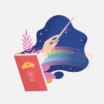 Ilustración creativa de cuento de hadas del libro