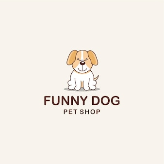 Ilustración creativa divertido perro animal signo diseño de logotipo vector de plantilla