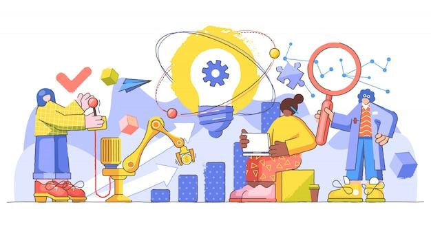 Ilustración creativa de gestión de progreso de innovación