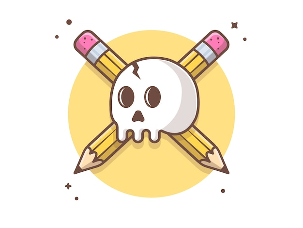 Ilustración creativa del icono del vector del cráneo