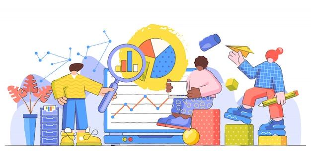 Ilustración creativa de investigación de datos