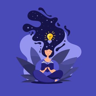 Ilustración creativa de linda chica en posición de loto lee un libro