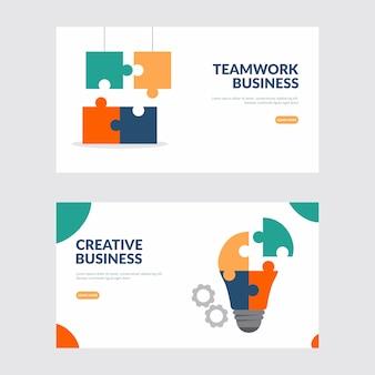 Ilustración creativa de negocios y trabajo en equipo.
