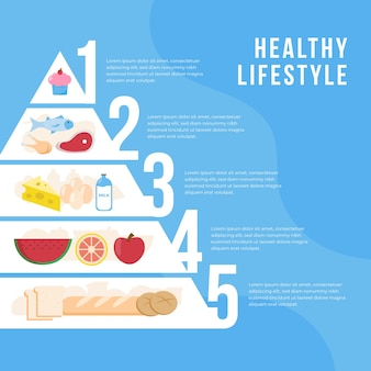 Ilustración creativa de la pirámide alimenticia