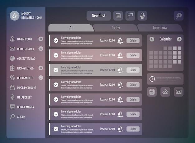 Ilustración creativa de la plantilla de planificador de día ui ux maqueta administrador de tareas de la aplicación de calendario