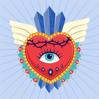 Ilustración creativa del sagrado corazón