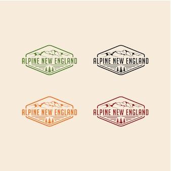 Ilustración creativa simple montaña alpina diseño de logotipo vintage